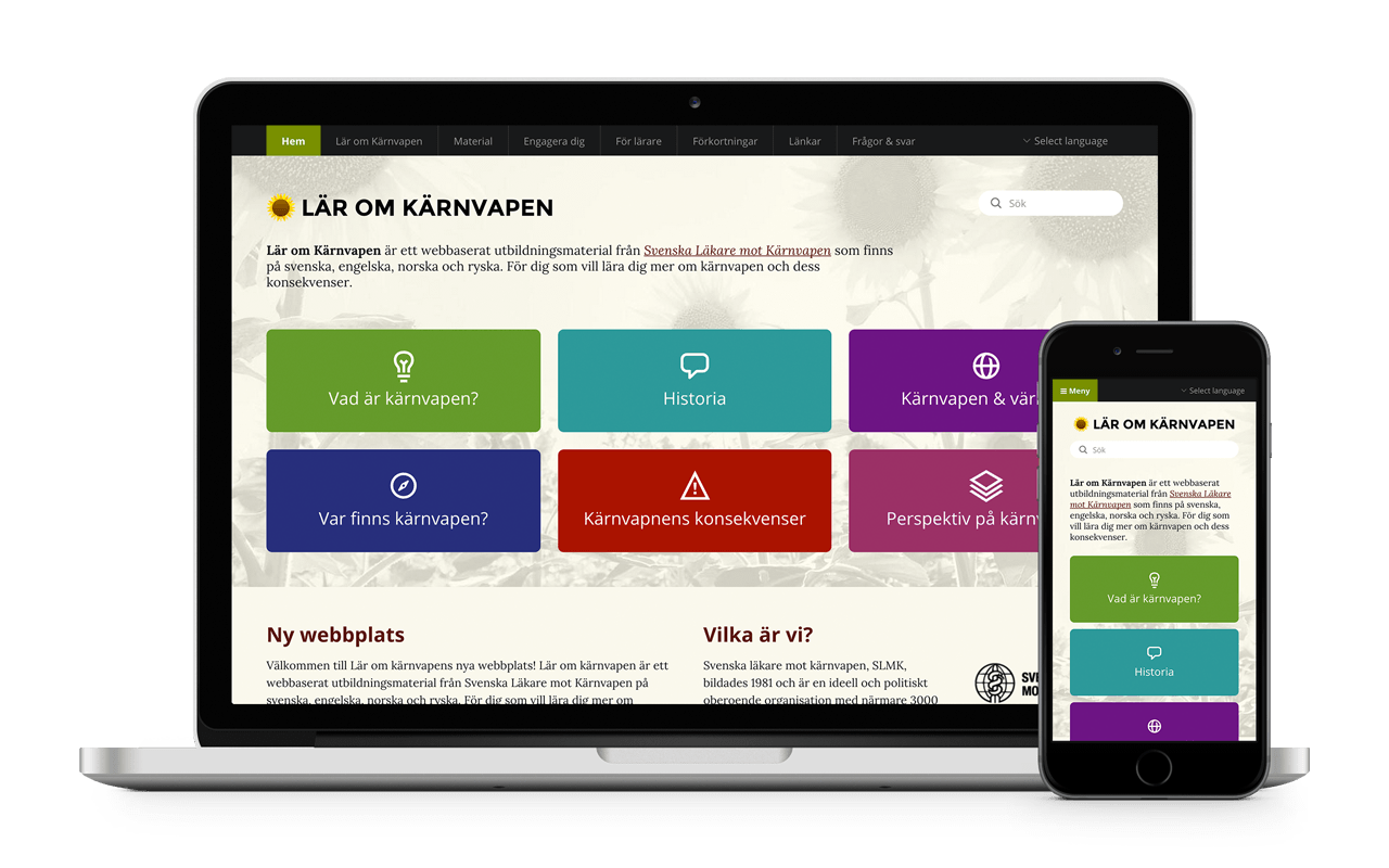 Laptop and smartphone showing the Lär om kärnvapen website