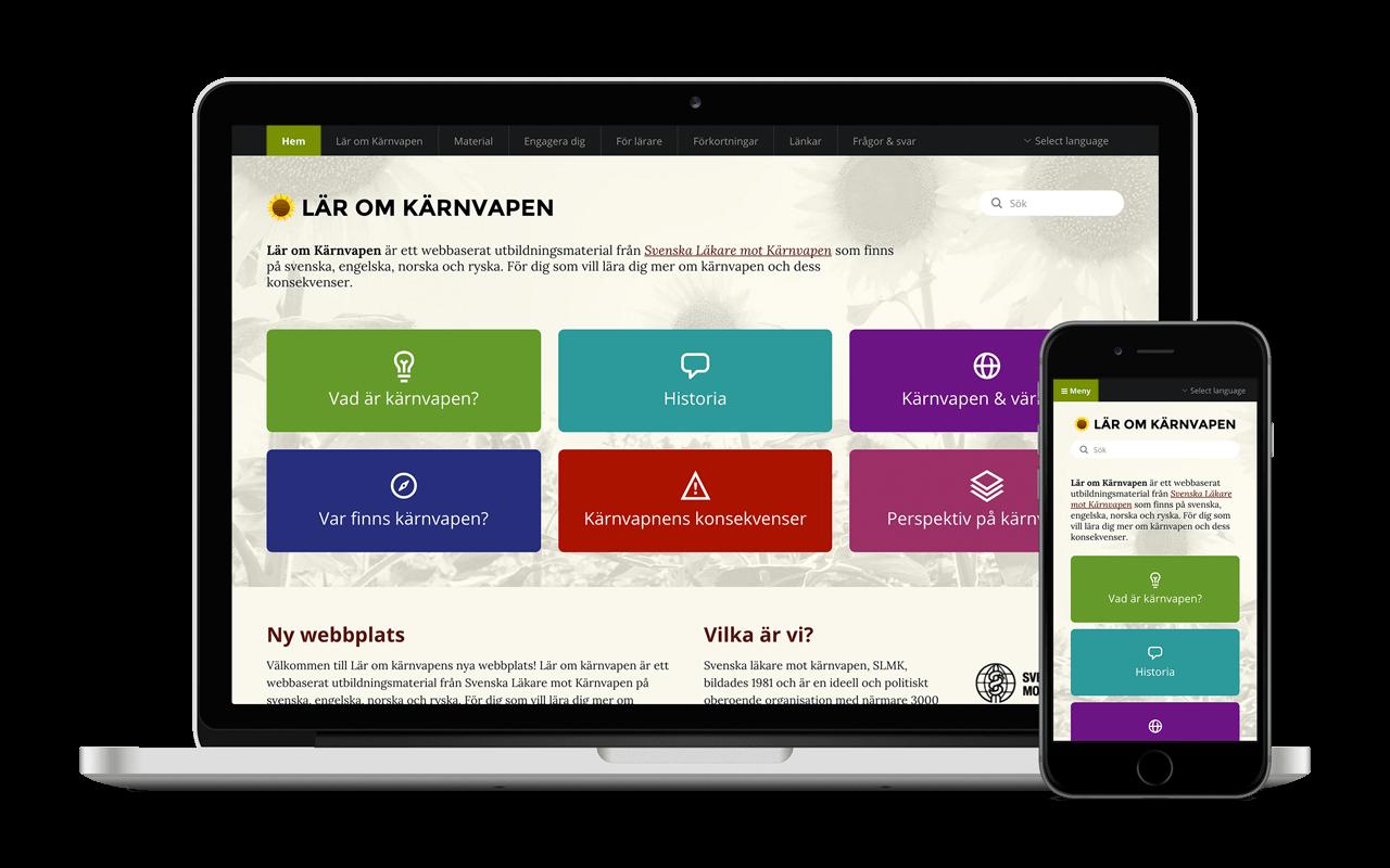 Laptop and smartphone showing the Lär om kärnvapen website