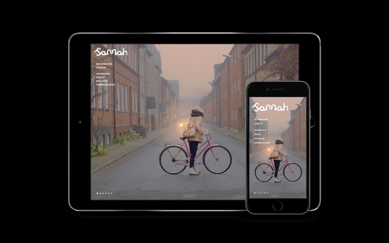 Tablet and smartphone showing showing website of Sannah Kvist